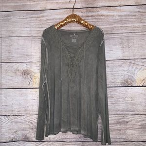 American Eagle Lace-Up Long Sleeve Shirt